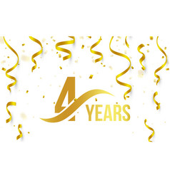 isolated golden color number 4 with word years vector image vector image