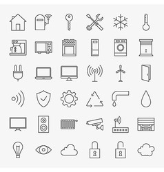 Line Smart Home Icons Big Set vector image vector image