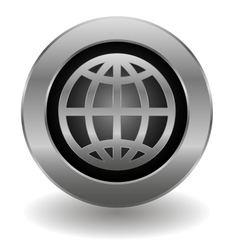 Metallic planet button vector image