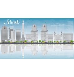 Minsk skyline with grey buildings vector