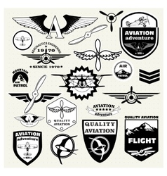 Monochrome mega set of the theme aviation vector
