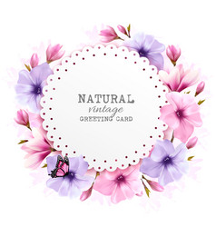 natural vintage greeting card with a cdolorful vector image