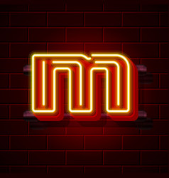 Neon city font letter m signboard vector