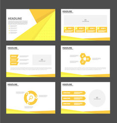 Orange yellow presentation templates infographic vector
