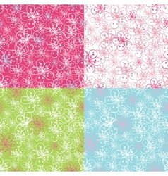 Outline cherry flowers backgroundspring seamless vector