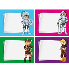 Paper design with knights and vikings vector