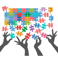 People join to find puzzle connections vector image vector image