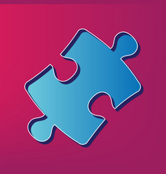 Puzzle piece sign blue 3d printed icon on vector