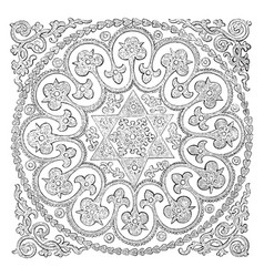 Quilt is used as a bed covering vintage engraving vector