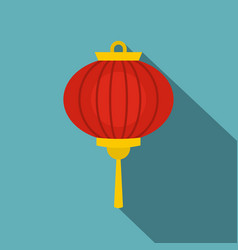 Red chinese lantern icon flat style vector