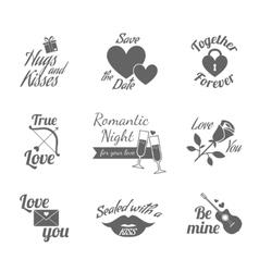Romantic labels icons set vector