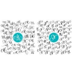 set letter m n hand drawn flourish vector image vector image