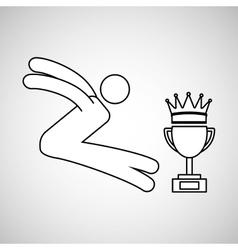 Silhouette person long jump winner sport vector