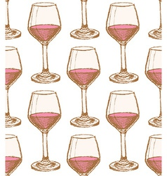 Sketch vine glass in vintage style vector