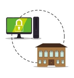 Smart system home security control cyber design vector