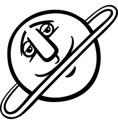 Uranus planet cartoon coloring page vector