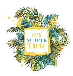 Tropical floral summer party poster with pal vector