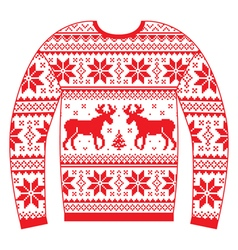Ugly christmas jumper or sweater with reindeer vector