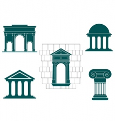 Ancient buildings symbols vector