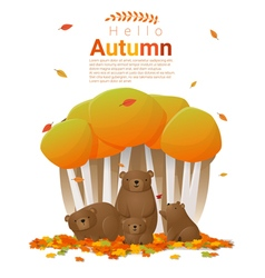 Hello autumn background with bears vector