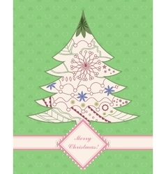 Vintage background with christmas tree vector