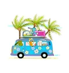 Holiday summer bus with beach tropical vacation vector