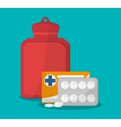 Medicine bag and medical care design vector
