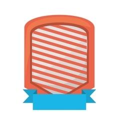 shield emblem stripes blue ribbon vector image