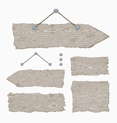Blank wooden signs - hanging and light gray vector