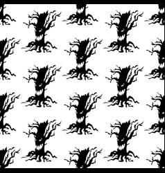 Evil tree halloween pattern vector