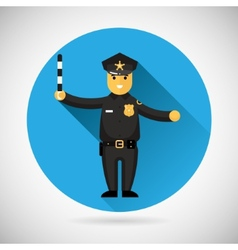 Police officer character with adjusting rod icon vector