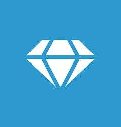 Diamond icon white on the blue background vector