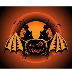 Haloween label with pumpkin vector image