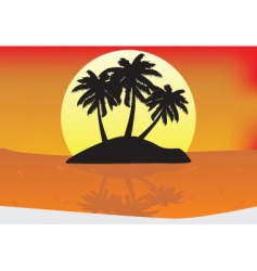 Sunset paradise vector