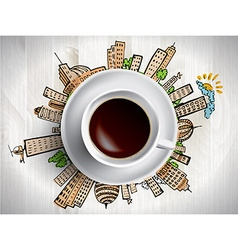 Coffee cup with colored doodles vector