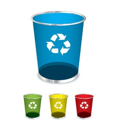 Bright glass recycle trash can icons or symbols vector
