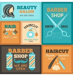 Hairdress poster set vector