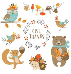Cute autumn forest animals vector