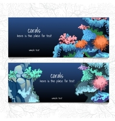 Horizontal blue card with corals and coelenterates vector
