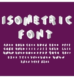 White isometric font alphabet vector