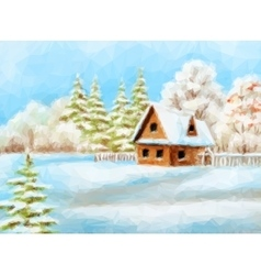 Winter landscape rustic house vector