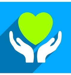 Heart care hands flat square icon with long shadow vector