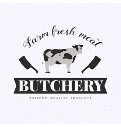 Set of butchery logo with cow and clever vector