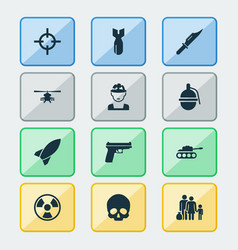 battle icons set collection of bombshell rocket vector image
