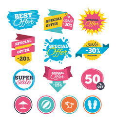 beach holidays icons umbrella and sandals vector image vector image