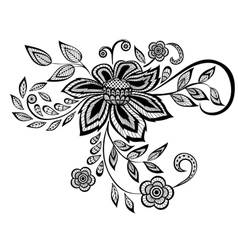 black and white floral pattern design element vector image