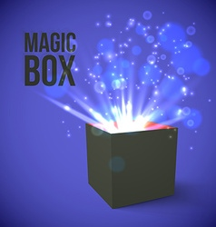 Black box with magic lights vector