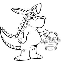 Cartoon dinosaur wearing rabbit ears and holding a vector
