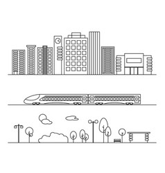 city elements in linear style vector image vector image