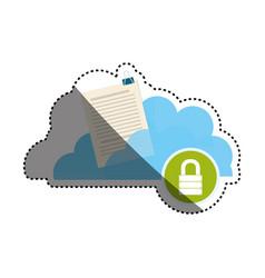 Cloud padlock security documents vector
